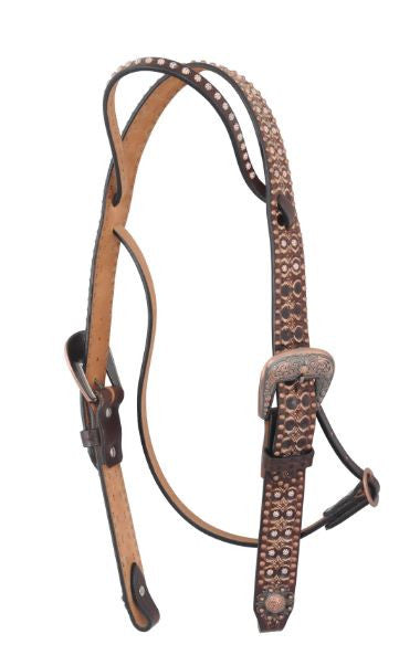 Irvine's Belt Browband Tooling Finish w/ White Sun Spots & Flower Spots Headstall