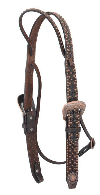 Irvine-Belt Browband w/Tooling & Copper Flower Spots Headstall