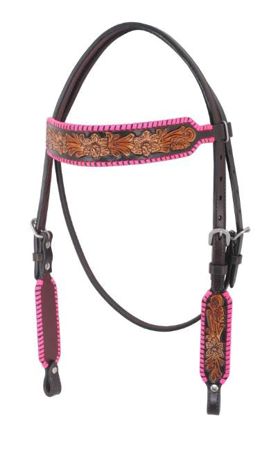 Irvine-Floral Carving Pink Rawhide Braiding & Three Tone Finish Browband Headstall