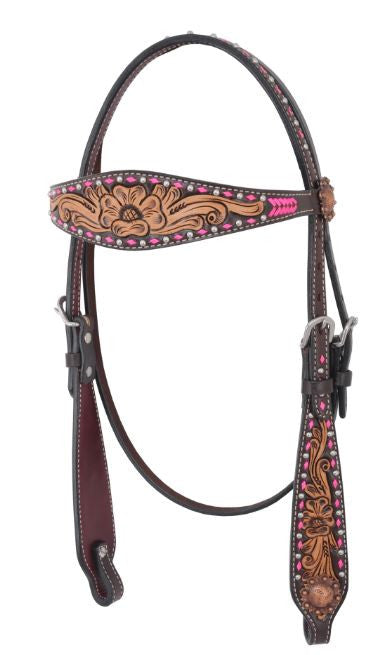 Irvine-Pink Rawhide Arrow & Buckstitch Browband Headstall