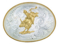 Montana Silversmiths Large Silver Engraved Western Belt Buckle with Bull Rider