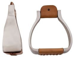 American Heritage Equine-  Aluminum Wide Leather Wrapped Tread Roper Stirrups 254-491