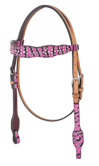 Irvine-Pick Zebra Hair On Crystal Spot Browband Headstall