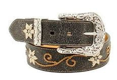 Nocona-Western Floral Scroll Embroidered Belt-Women