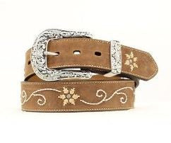 Nocona-Western Embroidered Flower Belt-Women
