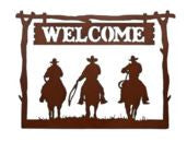 Rustic Ironwerks-ROUND Frame 3 Rider Welcome Sign