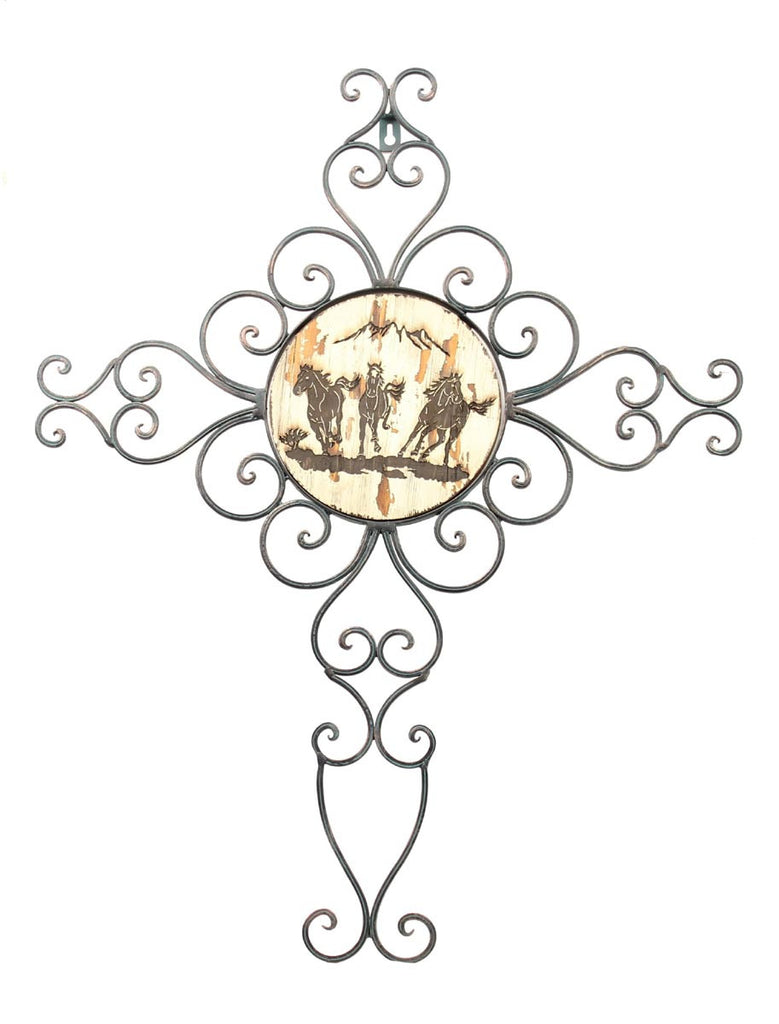 Wire Wall Cross w/ Running Horses