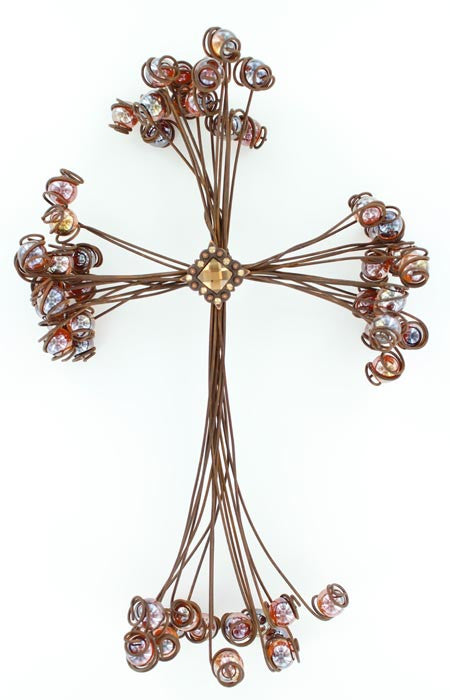 Wire Marble Wall Cross