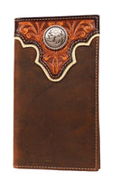 Ariat Rodeo Style Tan Tooled Overlay Wallet