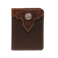 Ariat Bifold Flipcase Brown Tooled Overlay Wallet