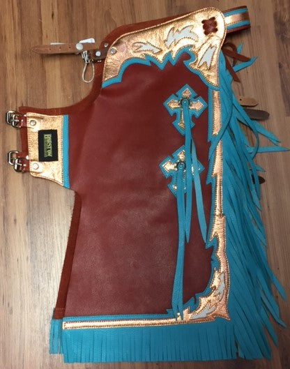 Barstock Chaps Brown Turquoise Irvines Saddles