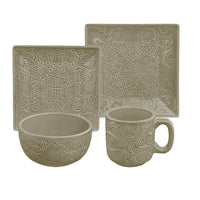 HiEnd Accents Savannah Taupe 16 PC Dish Set