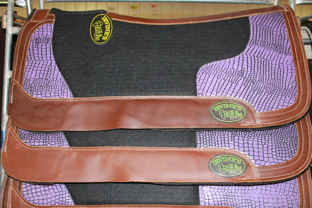 "Irvine's Saddle Pad 1/2"" Synthetic Felt Topper and Synthetic Crocodile Detailing"