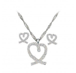 Montana Silversmiths- A Caring Heart in Clear Rhinestones Jewelry Set (JS744)