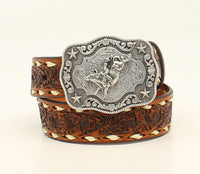 Nocona Boys Floral Embossed & Laced Edges Belt