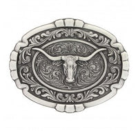 Montana Silversmiths Classic Impressions Longhorn Cameo Portrait Oval Attitude Buckle