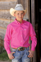 Cinch Boys Solid Pink Twill Button-Down Shirt-MTW7060026