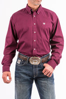 Cinch Mens Solid Burgundy Button-Down Western Shirt-MTW1104239