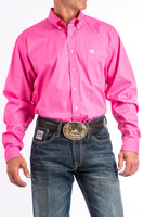 Cinch Mens Solid Pink Button-Down Western Shirt-MTW1103320