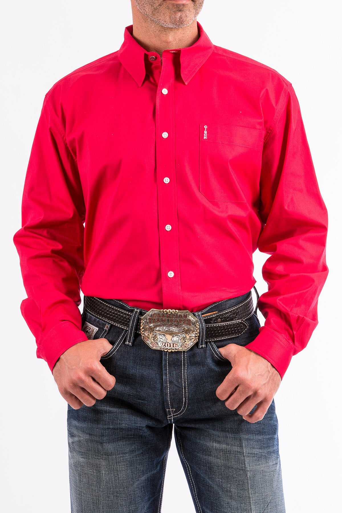 bc923ac35eb Cinch Mens Solid Pink Modern Fit Western Button-Down Shirt-MTW1343012