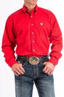 Cinch Mens Solid Red Button-Down Western Shirt-MTW1103313
