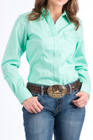 Cinch Womens Solid Green Button-Down Western Shirt-MSW9164028