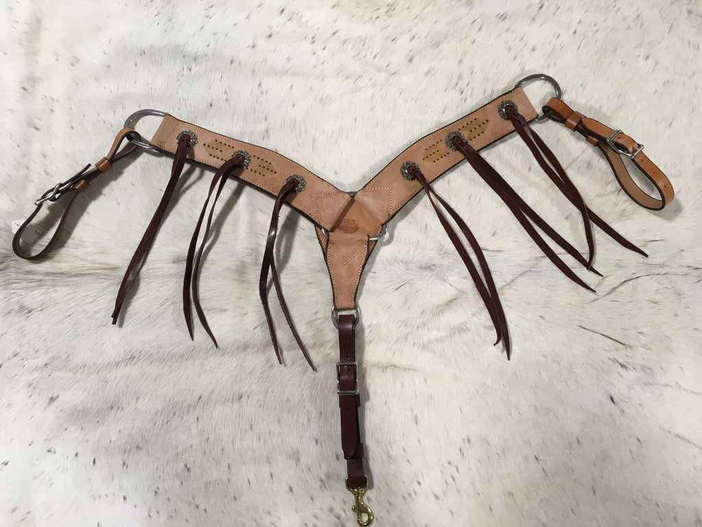 Irvine Roughout Breast Collar with Latigo Tassel and Rawhide Detail