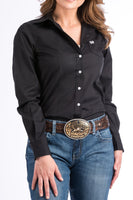 Cinch Womens Solid Black Button-Down Western Shirt-MSW9164027