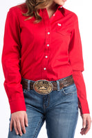 Cinch Womens Solid Red Button-Down Western Shirt-MSW9164032