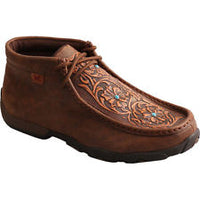 Twisted X Women's Driving Moccasins – Brown/Tooled Flowers-WDM0081