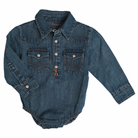 Wrangler Baby Boy Long Sleeve Bodysuit Denim-PQ4165D