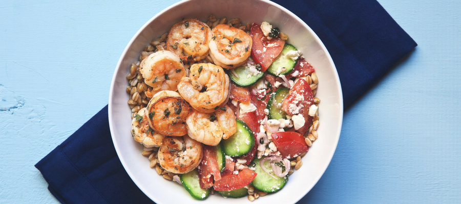 Top 10 Dinners in a Bowl | Greek Shrimp Farro Bowl Meal Kit