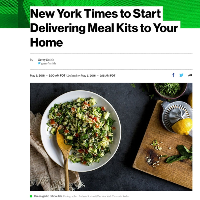 Bloomberg: New York Times to Start Delivering Meal Kits to Your Home