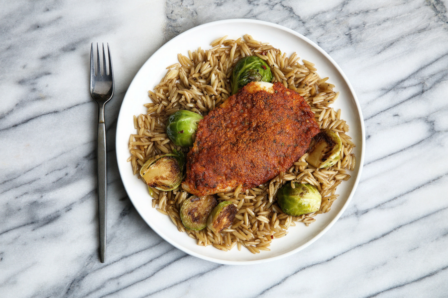 Parmesan Crusted Tilapia with Brussels Sprouts