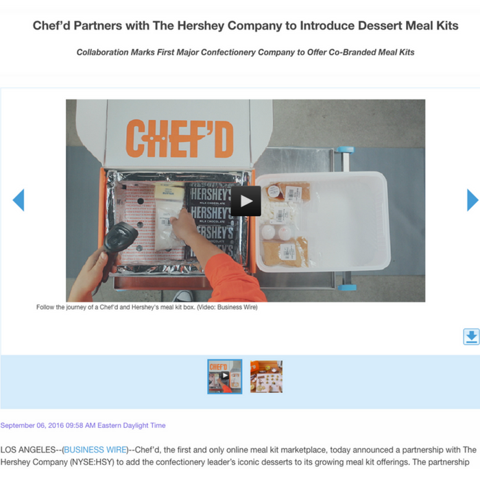 Chef'd Partners with The Hershey Company to Introduce Dessert Meal Kits