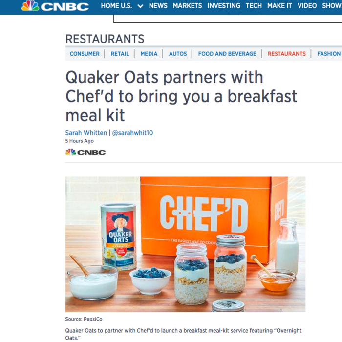 Quaker Oats partners with Chef'd to bring you a breakfast meal kit