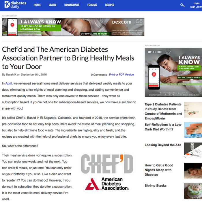 Chef'd and The American Diabetes Association Partner to Bring Healthy Meals to Your Door