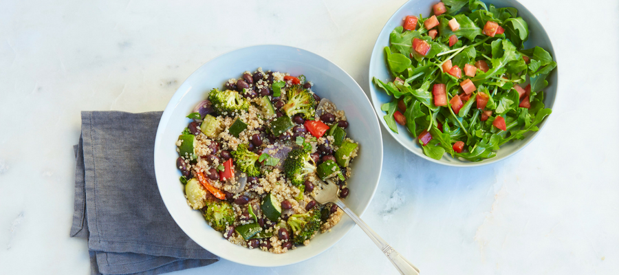Roasted Veggie Quinoa Bowl with Lemon Arugula Salad Meal Kit by Dr. Oz & Chef'd