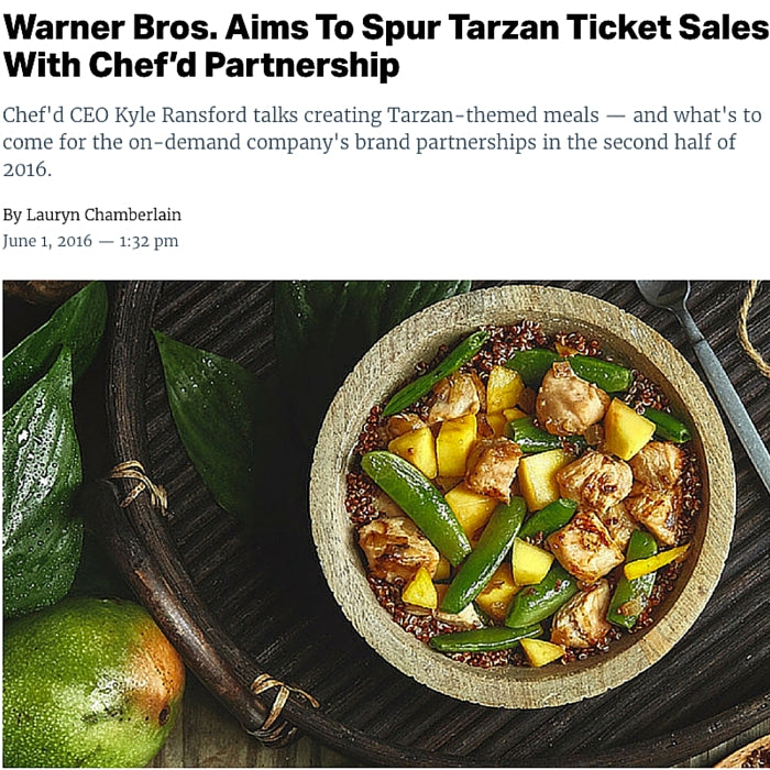 Warner Bros. Aims To Spur Tarzan Ticket Sales With Chef'd Partnership