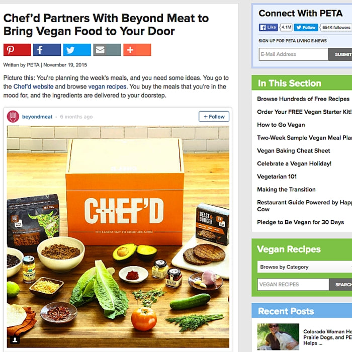 Chef'd Partners With Beyond Meat to Bring Vegan Food to Your Door