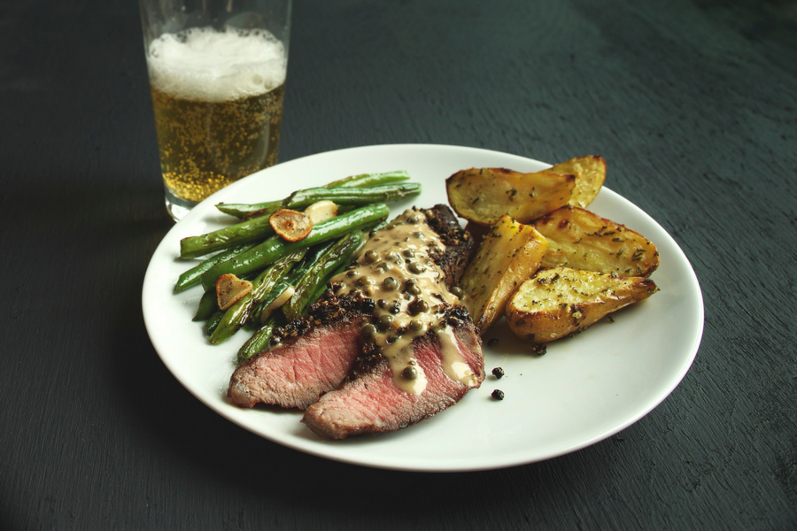Steak Au Poivre with Roasted Rosemary and Green Beans