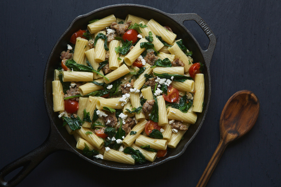 Rigatoni Pasta and Turkey Sausage with Spinach and Goat Cheese