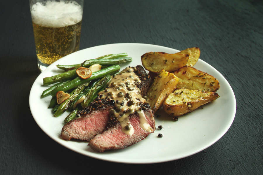 Steak Au Poivre with Roasted Rosemary Potatoes and Green Beans