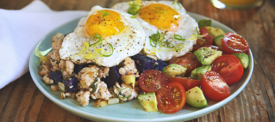 Sunny-Side Up Eggs and Turkey Hash with Tomato and Avocado Salad Breakfast Meal Kits