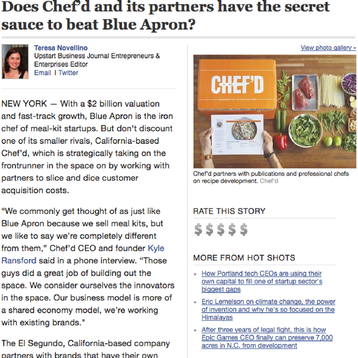 Does Chef'd and its partners have the secret sauce to beat Blue Apron?