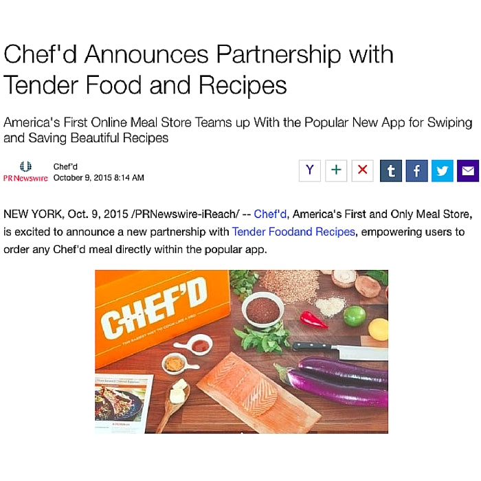Chef'd Announces Partnership with Tender Food and Recipes