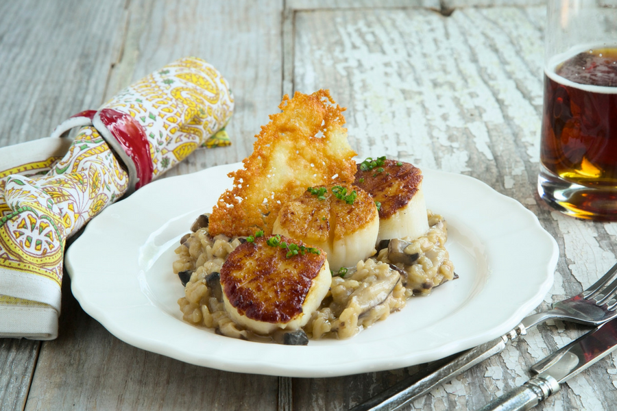 Jumbo Scallops with Wild Mushroom Risotto