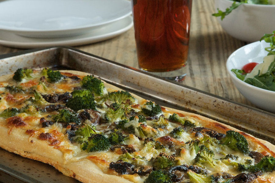 White Pizza with Broccoli and Mushrooms