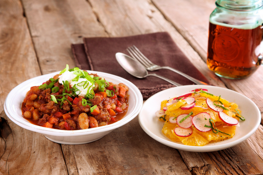 Beef & Chipotle Chili with Orange and Radish Salad