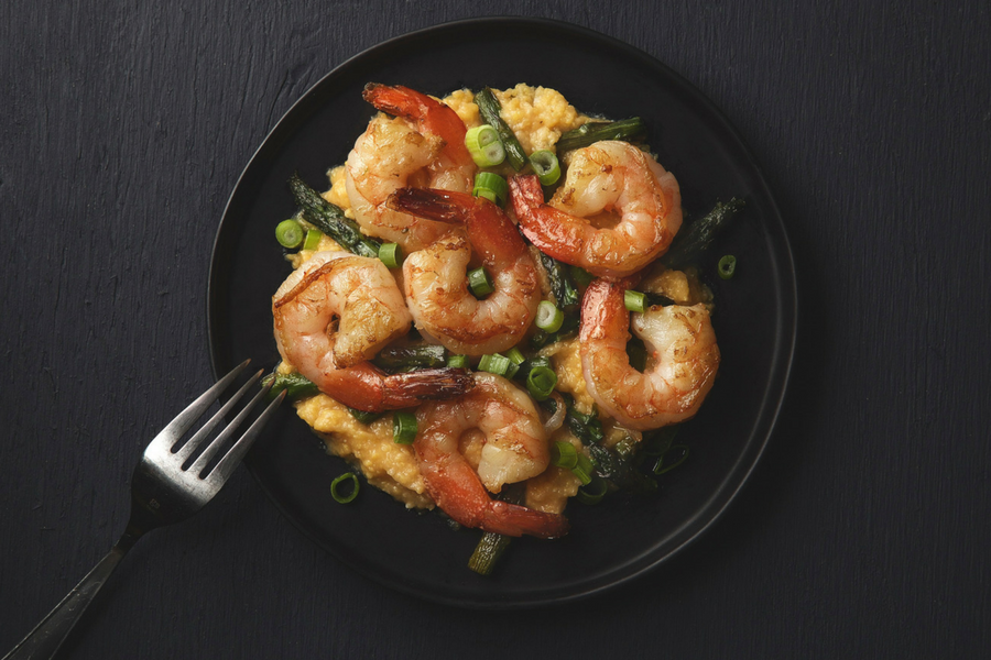 Shrimp and Asparagus with Parmesan Grits